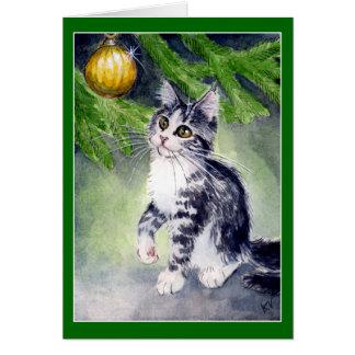 Katzen- und Weihnachtsverzierungskarte Karte