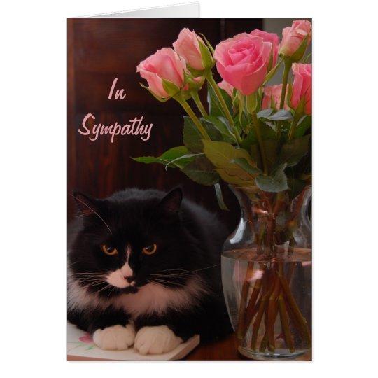 Katzen-Verlust-Beileid mit rosa Rosen Karte