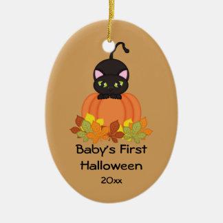 Katzen-Verzierung des Halloweens des Babys erste Ovales Keramik Ornament