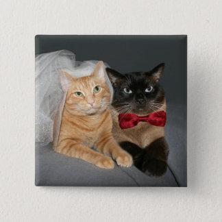 Katzenartige Braut und Bräutigam Quadratischer Button 5,1 Cm