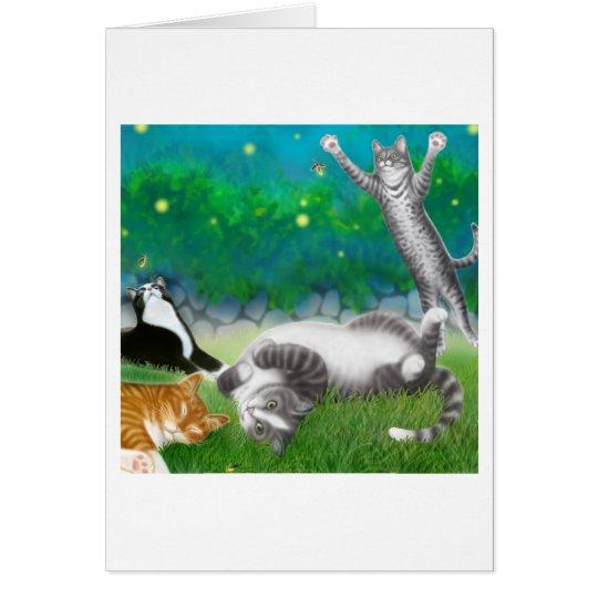 Katzenartiger Spaß mit Leuchtkäfer-Karte Grußkarte