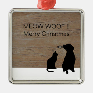 Katzenhundeillustrations-Silhouetten Weihnachten Quadratisches Silberfarbenes Ornament