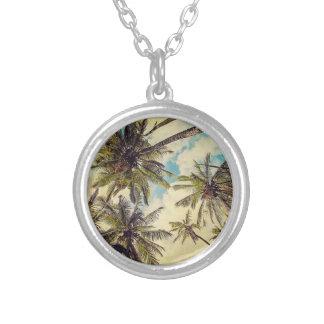 Kauai Hawaii Vintage Coco-Palme-Halskette Versilberte Kette