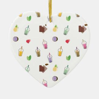 Kawaii Blasen-Tee Keramik Herz-Ornament