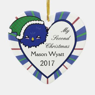 Kawaii blaues Weihnachten 2017 des Keramik Ornament