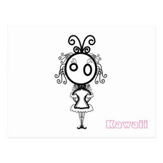 Kawaii Cartoon-Mädchen Postkarte
