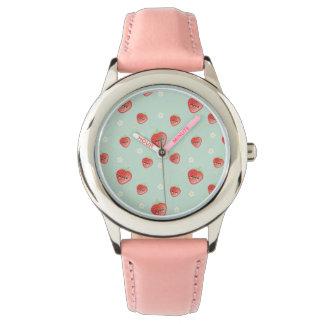 Kawaii Erdbeere und Blumen Uhr