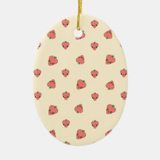 Kawaii Erdbeerhintergrund Ovales Keramik Ornament