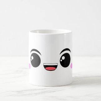 Kawaii glücklicher Anime gegenübergestellt Kaffeetasse