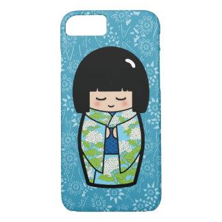 Kawaii Kokeshi (blaue) japanische Puppe iPhone 8/7 Hülle