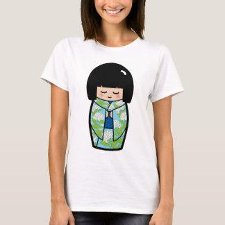 Kawaii Kokeshi (blaues) japanisches Puppen-Shirt T-Shirt