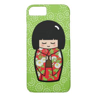 Kawaii Kokeshi (Gelbgrün) japanische Puppe iPhone 8/7 Hülle