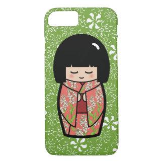 Kawaii Kokeshi (grüne) japanische Puppe iPhone 8/7 Hülle