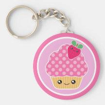 Kawaii Kuchen-Erdbeere Keychain Schlüsselband