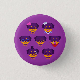 Kawaii lila Rottweiler Welpen-Muster Runder Button 3,2 Cm