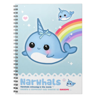 Kawaii narwhals spiral notizblock