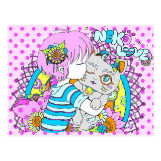 Kawaii neko chat flower manga postkarte