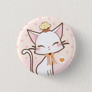 Kawaii niedliche weiße Katze mit kleinem Kuchen Runder Button 2,5 Cm