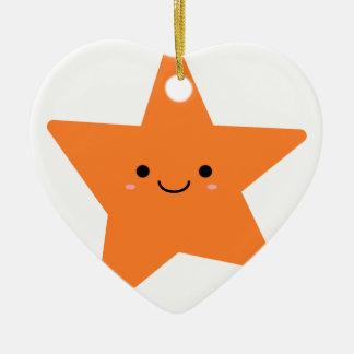 Kawaii orange Stern Keramik Ornament