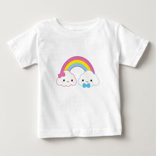 Kawaii Paar-Wolken mit Regenbogen Baby T-shirt
