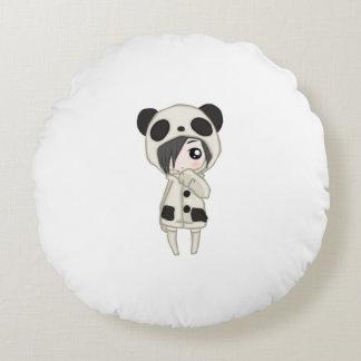 Kawaii Panda-Mädchen Rundes Kissen