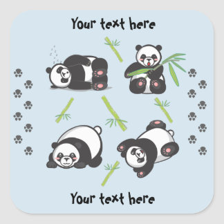 Kawaii Panda-quadratische Aufkleber