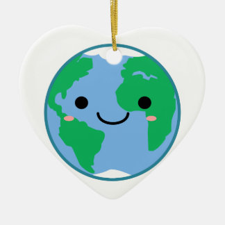 Kawaii Planeten-Erde Keramik Ornament