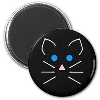 Kawaii schwarze Katzekitty-blaue Runder Magnet 5,7 Cm