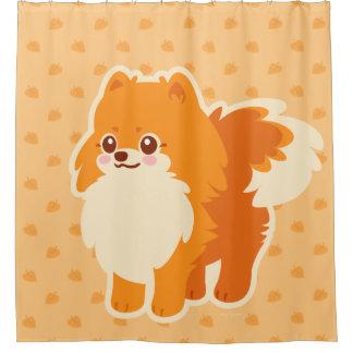 Kawaii Spitz-Cartoon-Hund Duschvorhang