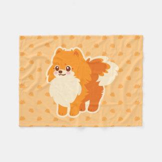 Kawaii Spitz-Cartoon-Hund Fleecedecke