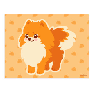 Kawaii Spitz-Cartoon-Hund Postkarte