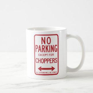 Kein Parken außer Chopper-Zeichen Kaffeetasse