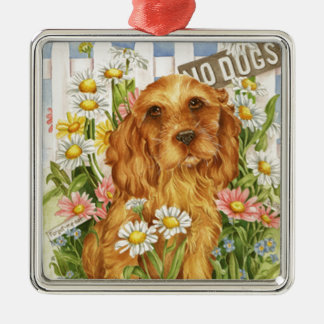 Keine Hunde! Quadratisches Silberfarbenes Ornament