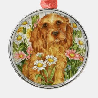 Keine Hunde! Rundes Silberfarbenes Ornament