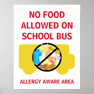 Keine Nahrung erlaubt auf der Schulbus-Allergie Poster