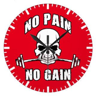 Keine Schmerz kein Gewinn - Schädel und Barbell - Große Wanduhr