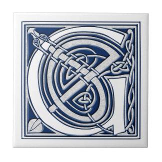 Keltische Drache-Initiale G Kleine Quadratische Fliese