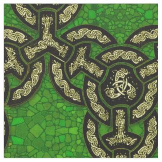 Keltische Drache-Kette groß in dunkelgrünem Stoff
