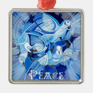 Keltische Friedenstaube Quadratisches Silberfarbenes Ornament