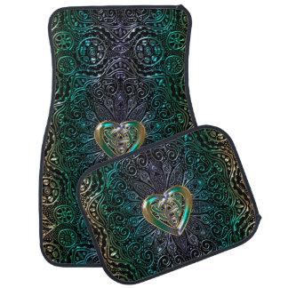 Keltische Herz-Mandala im grünen Gold Automatte
