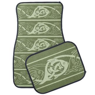 Keltische Knüpfarbeit-Fische im Grün Autofußmatte