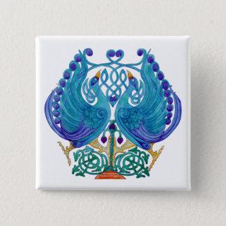 Keltische Pfau-quadratisches Knopf-Abzeichen Quadratischer Button 5,1 Cm