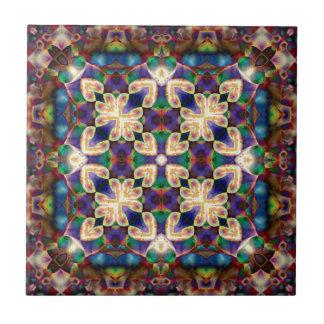 Keltische Regenbogen-Herz-Buntglas-Mandala Keramikfliese