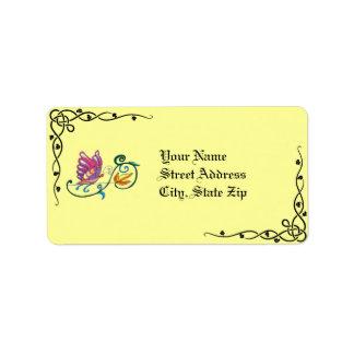 Keltische Schmetterlings-u. Rebe-Adressen-Etikette Adress Aufkleber