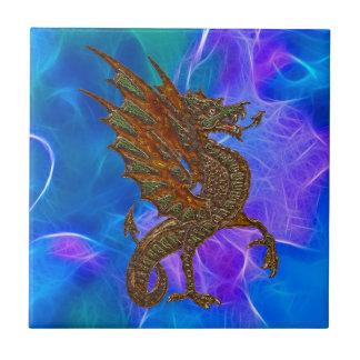 Keltischer Drache Walisers im Gold auf Blues II Keramikfliese
