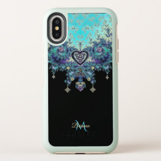 Keltischer Herz-Fraktal Design-Monogramm iPhone X OtterBox Symmetry iPhone X Hülle