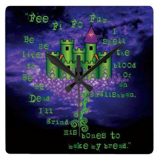 Keltischer Jack und die Bohnenstange im Grün Quadratische Wanduhr