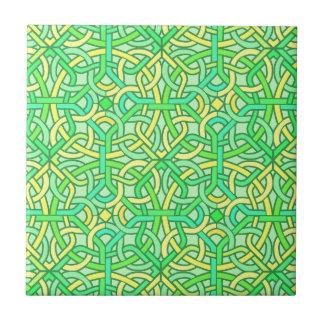 Keltischer Knoten-irisches Borten-Muster-Grün-Gelb Keramikfliese
