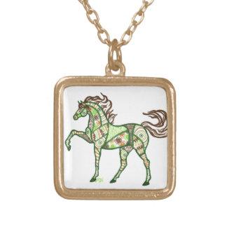 Keltischer Pferdeentwurfs-Goldtone Halskette