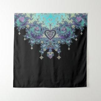 Keltisches Herz-mystische Fraktal-Tapisserie Wandteppich